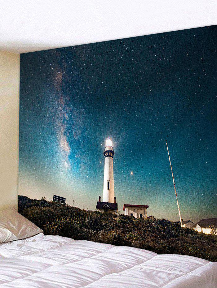 Light House Starry Night Pattern Wall Hanging Tapestry - GLACIAL BLUE ICE W59 INCH * L51 INCH