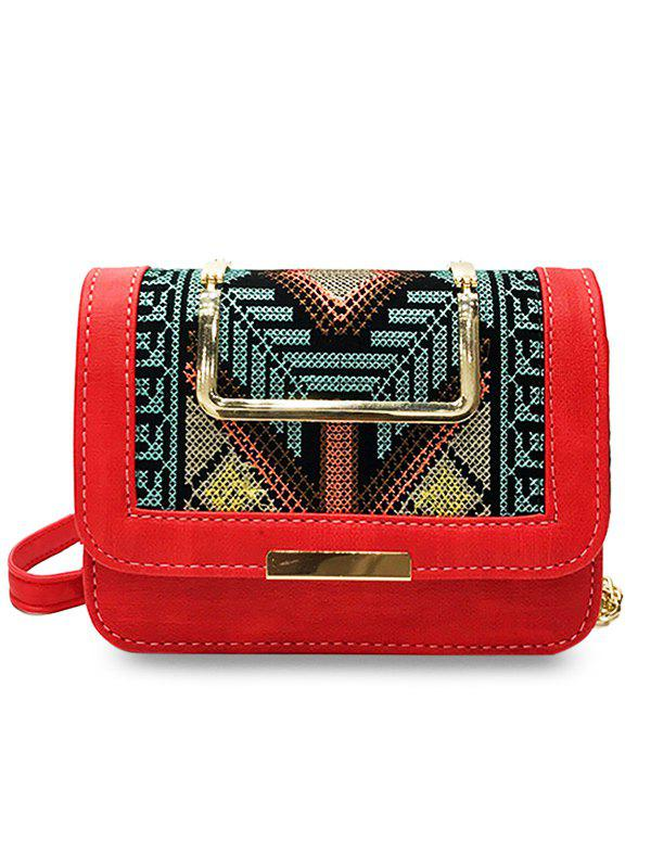 Metal Top Handle Embroidery Ethnic Crossbody Bag - RED