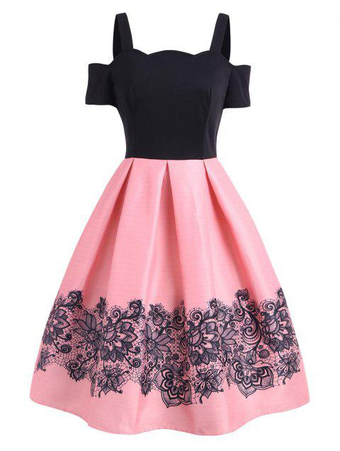 6725ed8e4cb 41% OFF  2019 High Waisted Cold Shoulder A Line Dress In LIGHT PINK ...