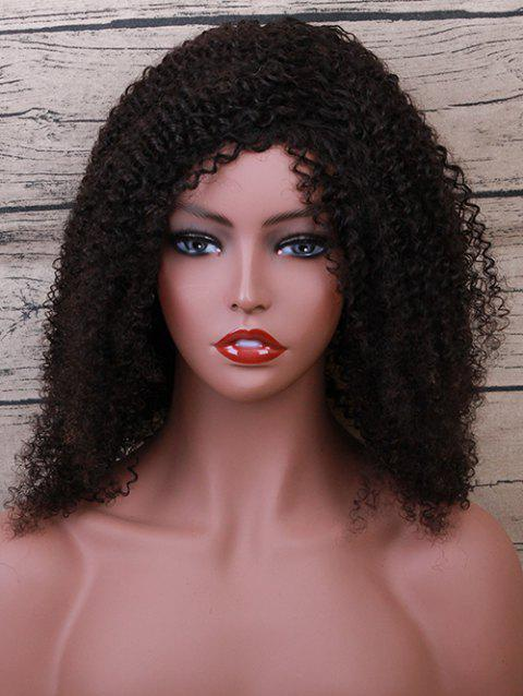 Medium Inclined Bang Fluffy Curly Human Hair Wig - NATURAL BLACK