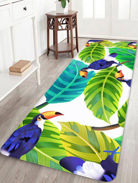 Birds and Leaves Pattern Anti-skid Floor Area Rug - multicolor W24 INCH * L71 INCH