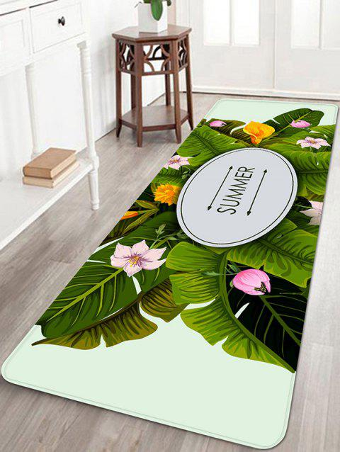 Leaves Flowers Printed Area Rug - multicolor W16 INCH * L47 INCH