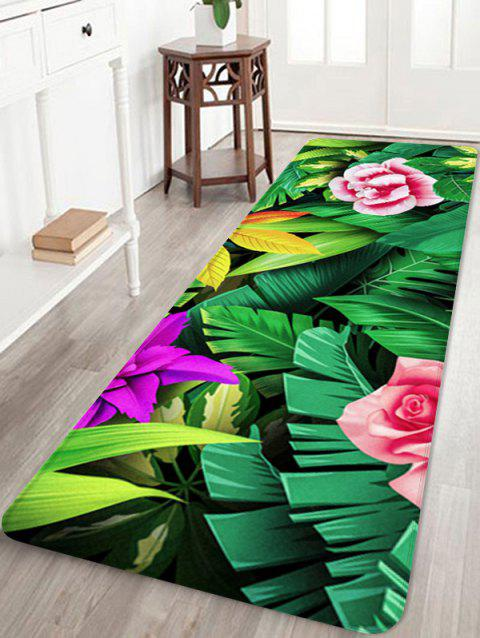 Forest Flowers Print Floor Decor Area Rug - multicolor W16 INCH * L47 INCH
