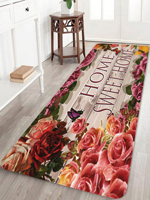 Sweet Home Flowers Pattern Anti-skid Floor Area Rug - multicolor W16 INCH * L47 INCH