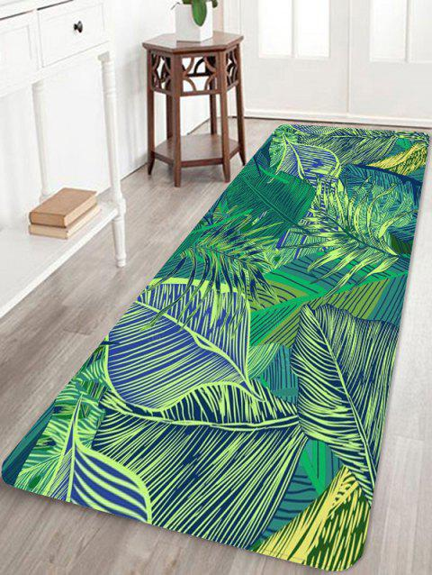 Tropical Leaves Pattern Water Absorbing Area Rug - GREEN W16 INCH * L47 INCH