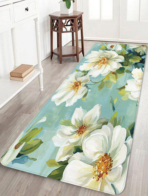 Flowers Pattern Water Absorption Floor Area Rug - BLUE GREEN W16 INCH * L47 INCH