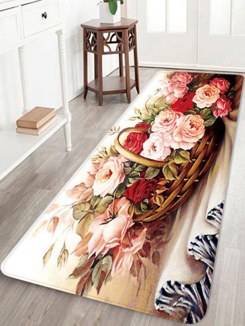 Home Decor Blooming Flowers Basket Print Floor Mat - multicolor W24 INCH * L71 INCH