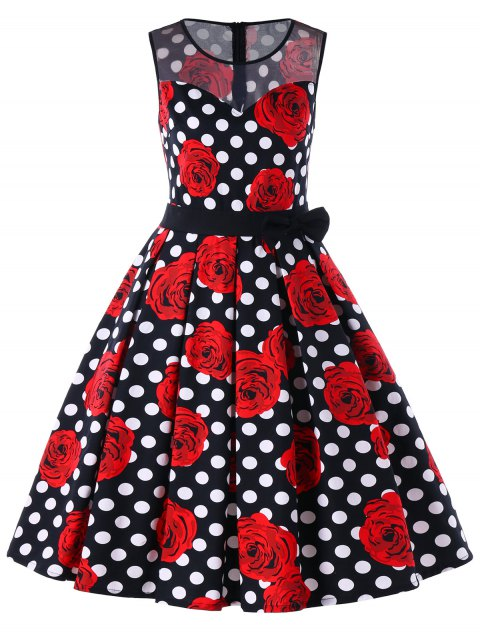 Floral Polka Dot Sleeveless 50s Dress - COLORMIX XL