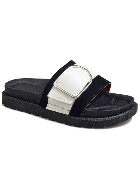 Metal Buckled Contrasting Color Leisure Slides - BLACK 36