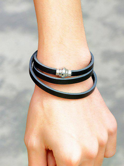 Artificial Leather Magnetic Buckle Wrap Bracelet - BLACK