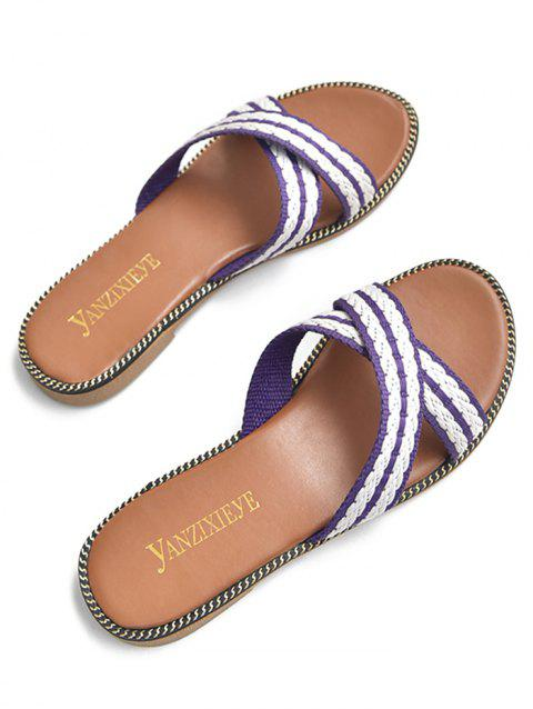 Leisure Holiday Cross Strap Slide Sandals - PURPLE FLOWER 38
