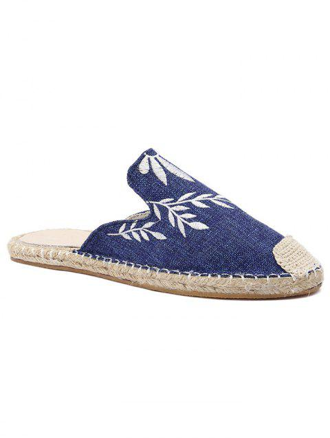 Flower Embroidery Stitching Backless Flats - BLUE 38