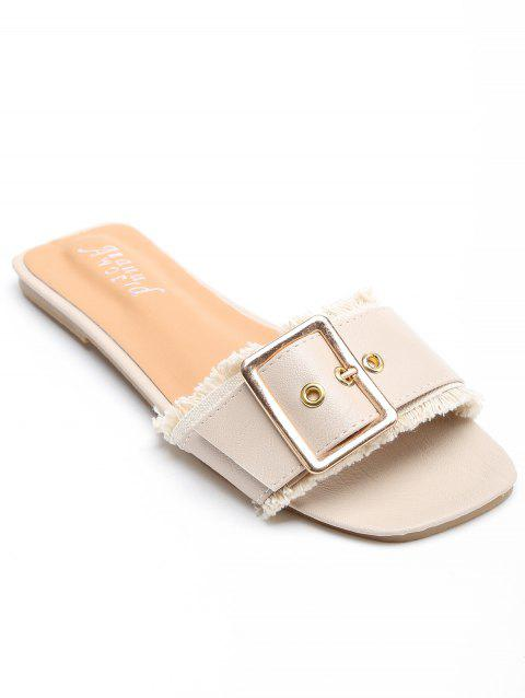 Chic Holiday Flat Heel Slide Sandals - BEIGE 37