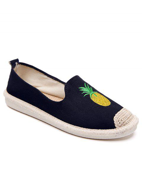 Straw Embroidery Pineapple Round Toe Loafers - BLACK 40