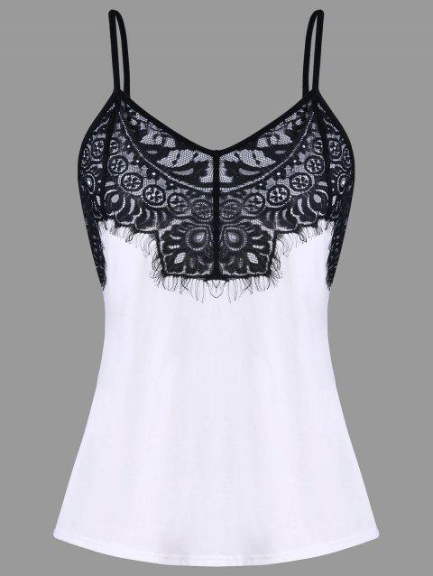Intricate Lace Fitted Tank Top - BLACK WHITE 2XL