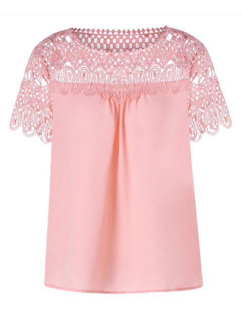 Lace Panel Hollow Out Blouse - PIG PINK M