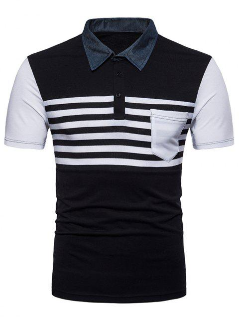 Short Sleeve Patchwork Polo T-shirt - BLACK XL