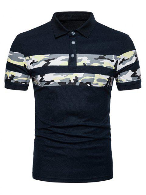 Geometrical Camo Pattern Polo T-shirt - NAVY BLUE L