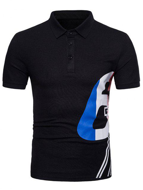 Mixed Colors Pattern Polo Collar T-shirt - BLACK L