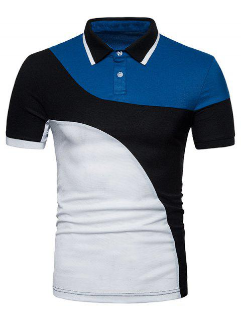 Short Sleeve Mixed Colors Polo T-shirt - BLACK M