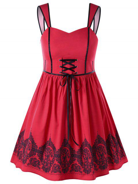2018 Plus Size Sleeveless Pin Up Dress Red Xl In Dresses 2018 Online