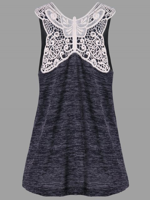 Butterfly Lace Panel Tank Top - CARBON GRAY M