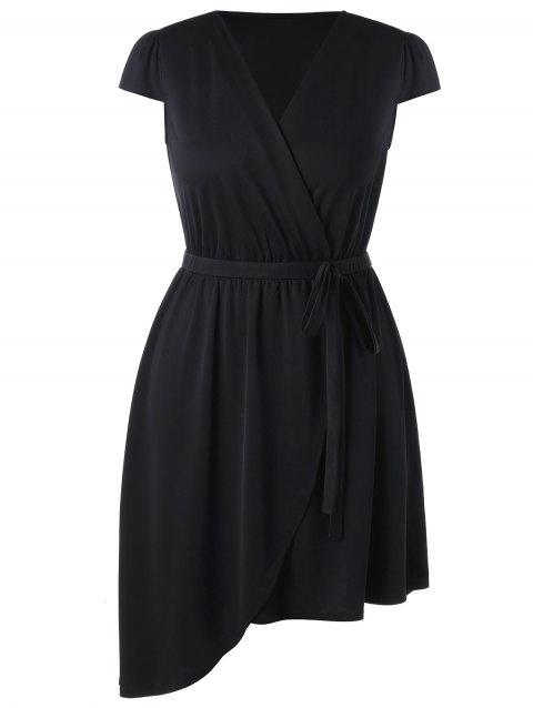 V Neck Plus Size Asymmetric Dress - BLACK 5X
