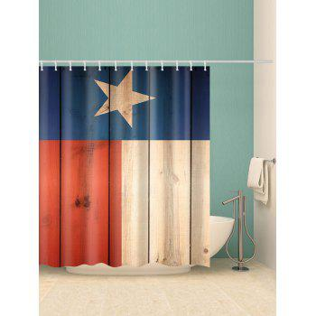 Five-pointed Star Wood Planks Print Waterproof Shower Curtain - multicolor W71 INCH * L79 INCH