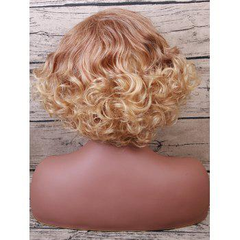 Short Inclined Bang Shaggy Curly Colormix Synthetic Fiber Wig - multicolor