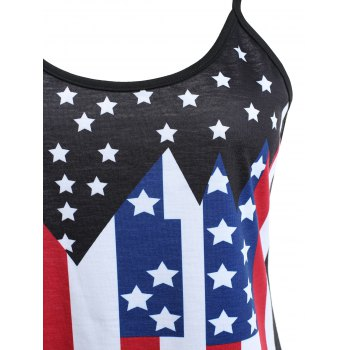 Fishnet T-shirt and American Flag Slip Top Suit - BLACK M