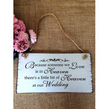 Love is in Heaven Printed Wall and Door Decor Hanging Wooden Plaque - WHITE