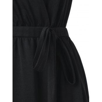 V Neck Plus Size Asymmetric Dress - BLACK 4X