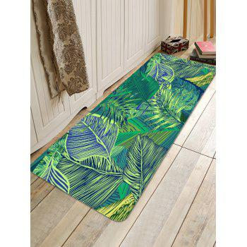 Tropical Leaves Pattern Water Absorbing Area Rug - GREEN W24 INCH * L71 INCH