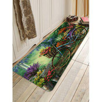 Bike In Flower Garden Pattern Anti-skid Floor Area Rug - multicolor W24 INCH * L71 INCH