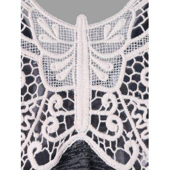 Butterfly Lace Panel Tank Top - CARBON GRAY XL