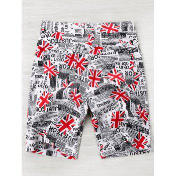 High Waist Union Jack Newspaper Print Shorts - COLORMIX XL