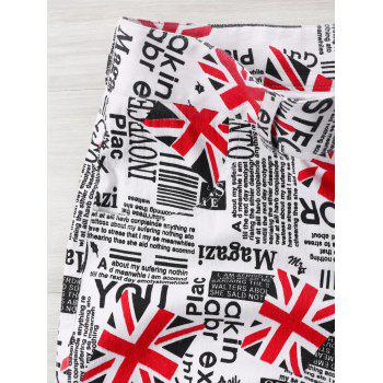 High Waist Union Jack Newspaper Print Shorts - COLORMIX 2XL
