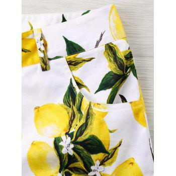 High Rise Lemon Print Bermuda Shorts - WHITE XL