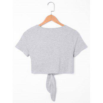 Tie Knot Front Eyes Crop Top - LIGHT GREY 2XL