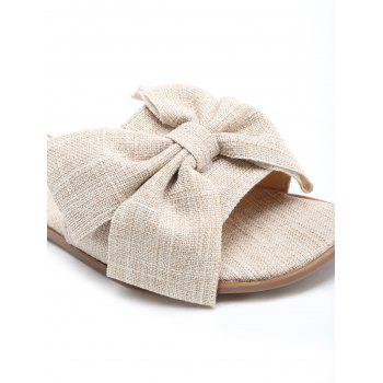 Outdoor Flat Heel Chic Bow Slide Sandals - LIGHT KHAKI 37