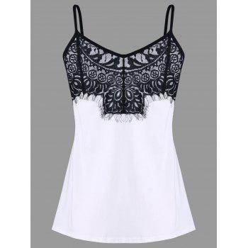 Intricate Lace Fitted Tank Top - BLACK WHITE L