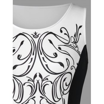 Baroque Print Sleeveless Bodycon Dress - WHITE/BLACK M