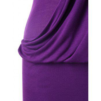Rhinestone Embellished One Shoulder Blouson Dress - PURPLE M