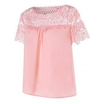 Lace Panel Hollow Out Blouse - PIG PINK L