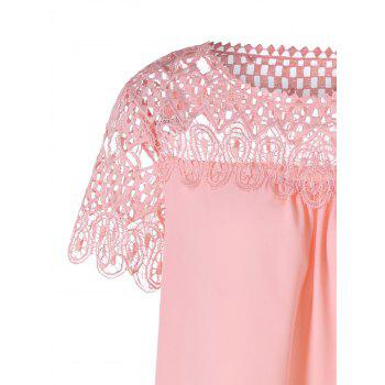 Lace Panel Hollow Out Blouse - PIG PINK 2XL