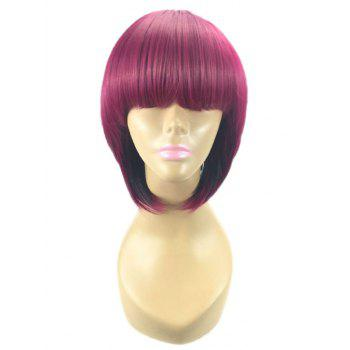 Short Full Bang Straight Bob Colormix Synthetic Wig - multicolor