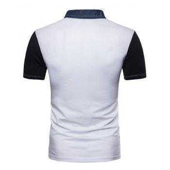 Short Sleeve Patchwork Polo T-shirt - WHITE 2XL
