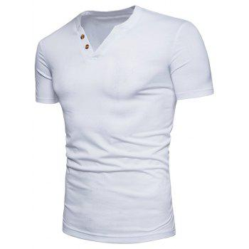 V Neck Button Decorated T-shirt - WHITE M
