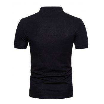Mixed Colors Pattern Polo Collar T-shirt - BLACK M