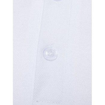 Mixed Colors Pattern Polo Collar T-shirt - WHITE M